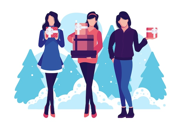 Women buying christmas gifts and having trees on background Free Vector