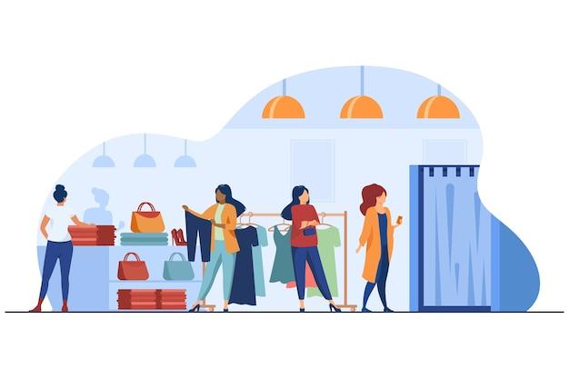 Женщины покупают одежду в магазине одежды. платье, леди, аксессуар плоский векторные иллюстрации. мода и шоппинг Бесплатные векторы