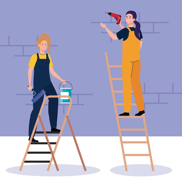 Women cartoons with construction drill and paint bucket on ladder design of remodeling working and repairing Premium Vector