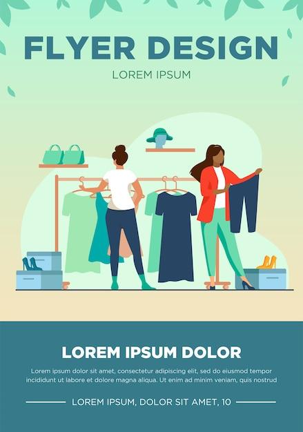 アパレル店で洋服を選ぶ女性たち。ドレス、靴、ズボンフラットベクトルイラスト。ファッションとショッピングのコンセプト 無料ベクター