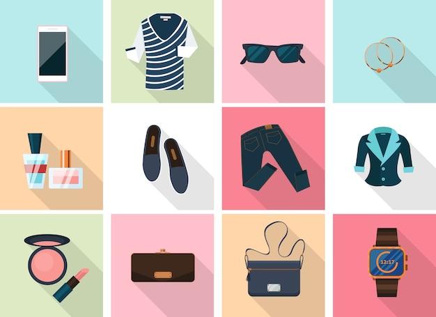 Женская одежда и аксессуары в плоском стиле. губная помада и серьги, смартфон и парфюмерия, макияж и часы. Бесплатные векторы