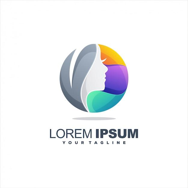 Women colorful logo template Premium Vector