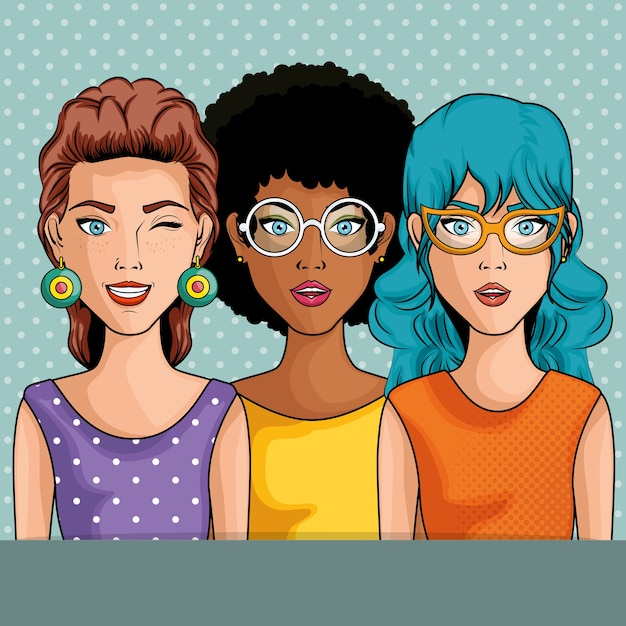 Women comic like pop art icon over blue dotted background vector illustration Premium Vector