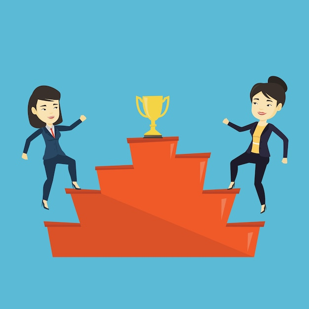 Women competing for the business award. Premium Vector