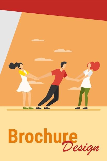Женщины соревнуются за парня. девушки тянут на руки парня плоские векторные иллюстрации. конкуренция, любовь, концепция зависти Бесплатные векторы