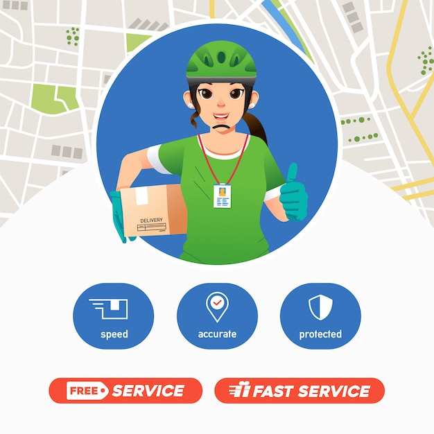 Women courier deliverry service bring package and giving thumbs up, deliverry company mascot with map Premium Vector