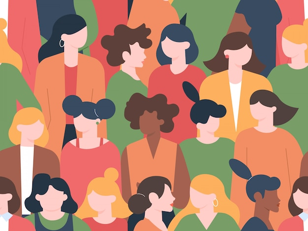 Women crowd seamless pattern. womens characters group portraits, female community with various hairstyles. multicultural women portrait diversity  illustration Premium Vector