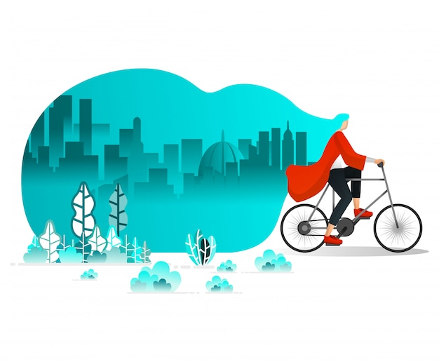 Women cycling around the city Premium Vector