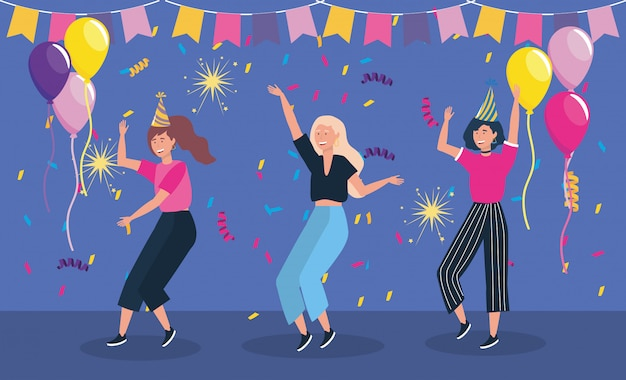 Women dancing in party and balloons Free Vector