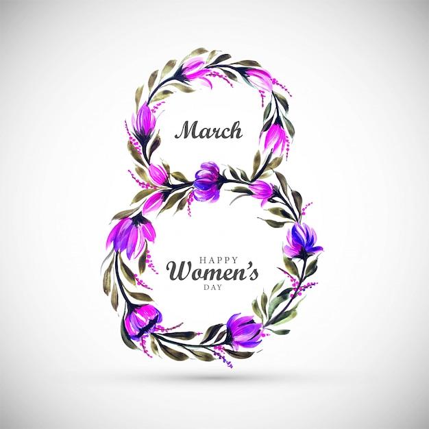 Sfondo di giorno di donne con cornice di fiori 8 marzo card Vettore gratuito