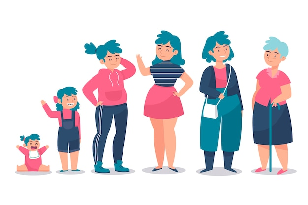 Women in different ages and colorful clothes Free Vector