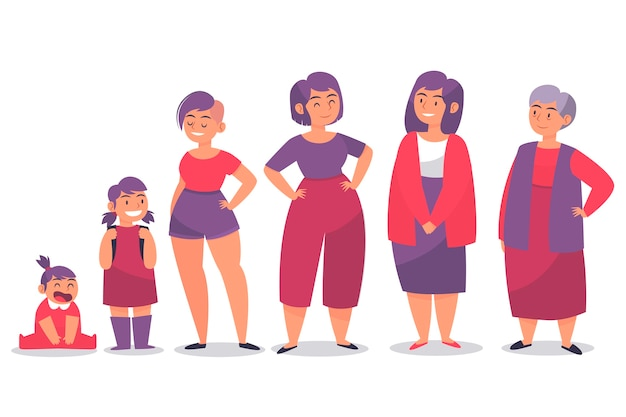Women in different ages and red clothes Free Vector