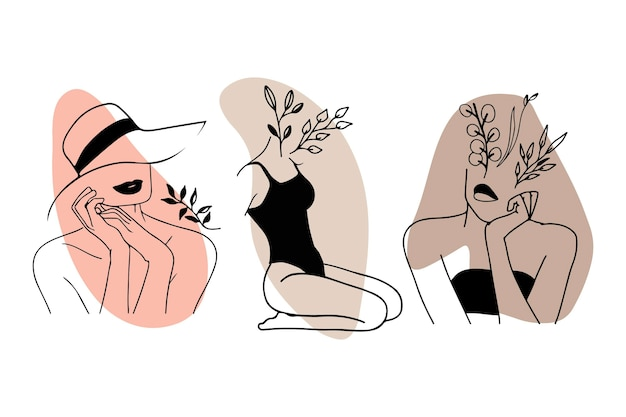 Women in elegant line art style collection Free Vector