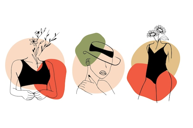 Women in elegant line art style set Free Vector