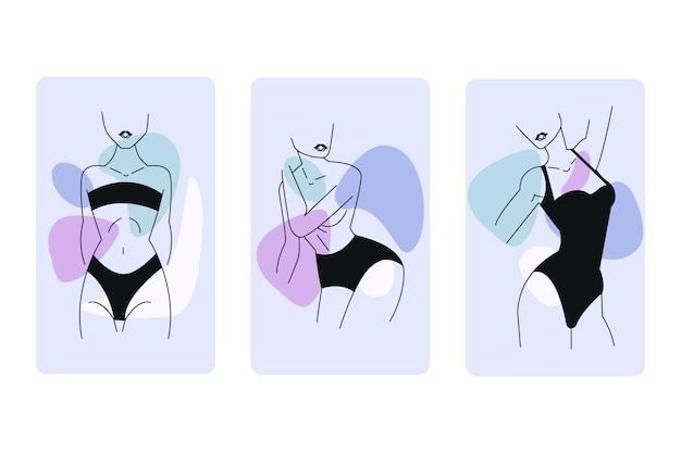 Donne in elegante stile art linea Vettore gratuito