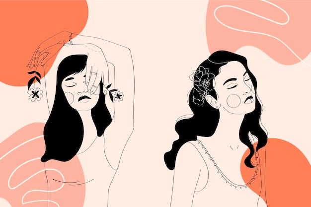 Women in elegant line art style Free Vector