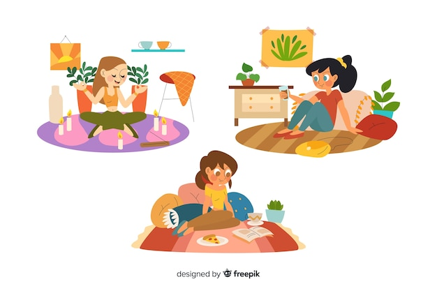 Women enjoying their free time on white background Free Vector