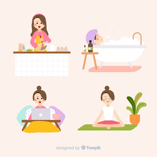 Women enjoying their free time Free Vector