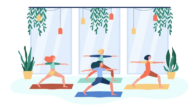Women exercising in fitness club, attending yoga class, standing in warrior pose on mat. flat vector illustration for physical activity, gymnastics, lifestyle concept Free Vector