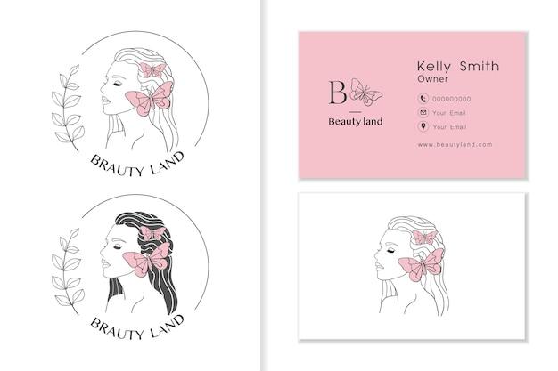 Женщины сталкиваются с логотипом с бабочкой, женскими коллекциями логотипов и шаблоном визитной карточки Premium векторы