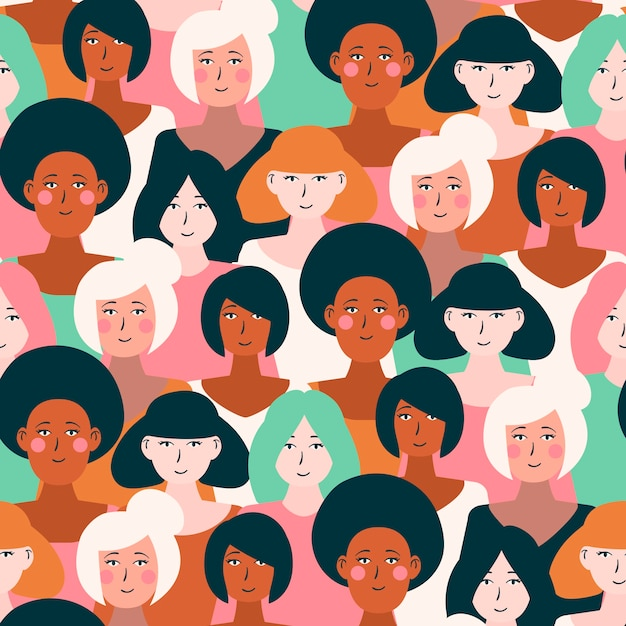 Women faces on pattern Free Vector