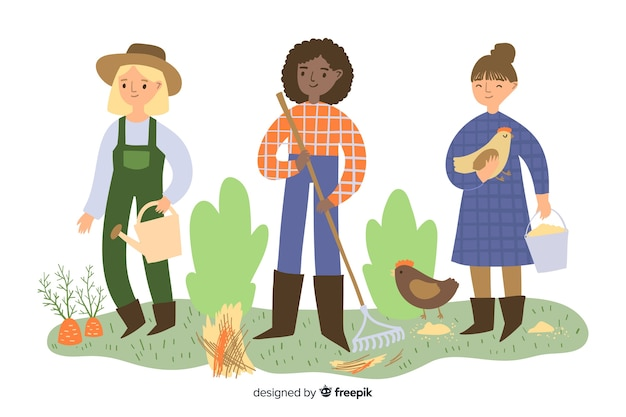 Women farmers doing agricultural work together Free Vector