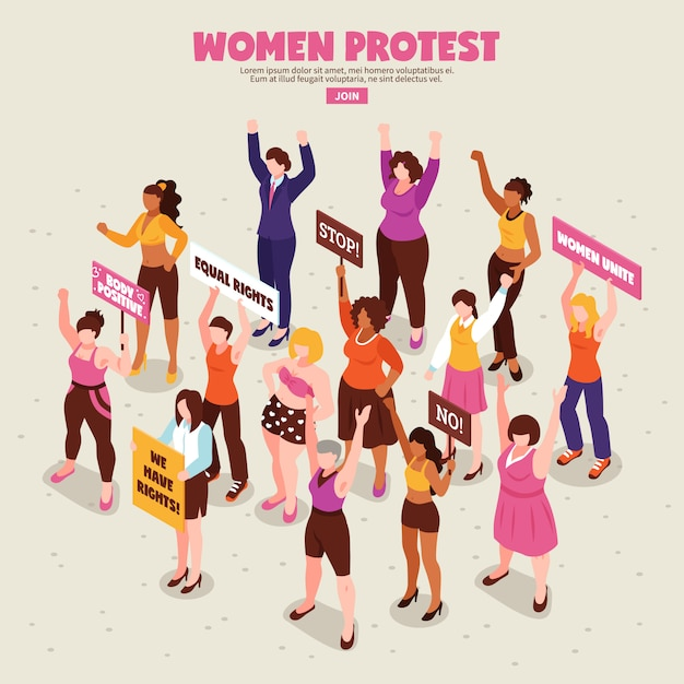 Women feminists with placards during protest action Free Vector