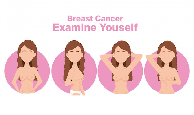 Women figures with breast cancer Free Vector