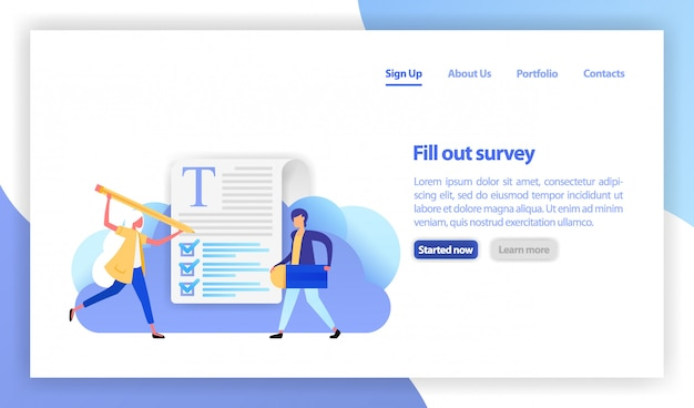 Women fill out the survey checkbox Premium Vector