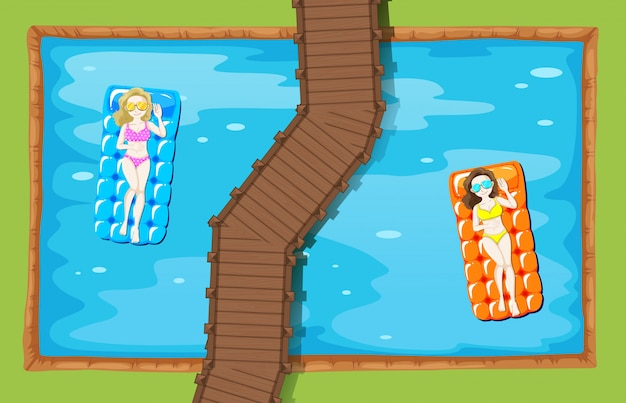 Women on floating mat in the pool Free Vector