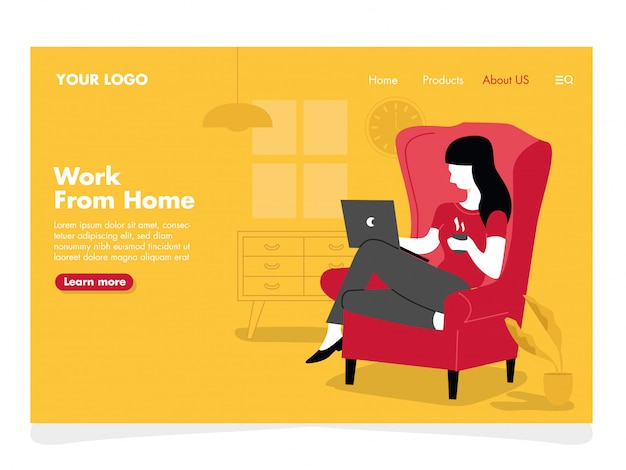Women freelance illustration for landing page Premium Vector