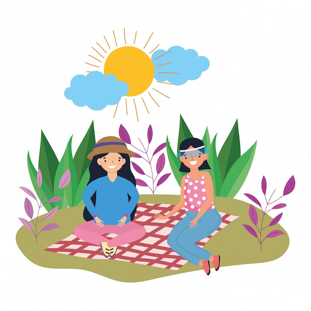 Women friends having picnic Premium Vector