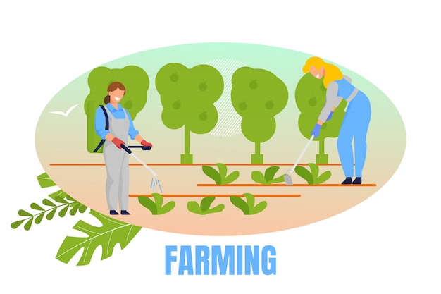Women gardeners planting and caring of plants Premium Vector