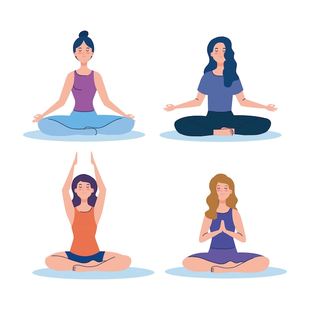 Women Group Meditating Concept For Yoga Meditation Relax Healthy Lifestyle Premium Vector