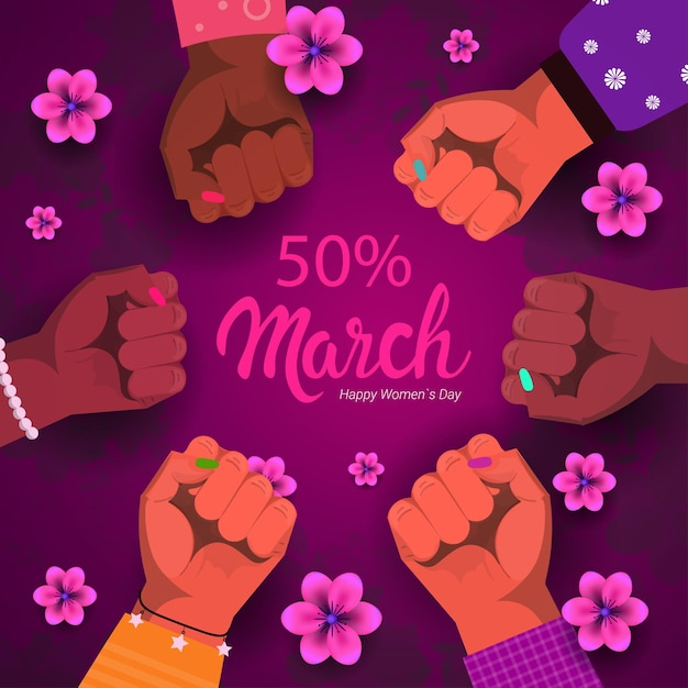 Women group raising fists for march 8th women's day sale banner Premium Vector