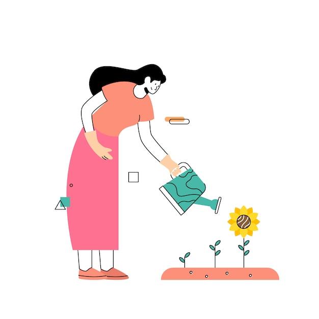 Women grow sunflowers in the garden in spring Premium Vector