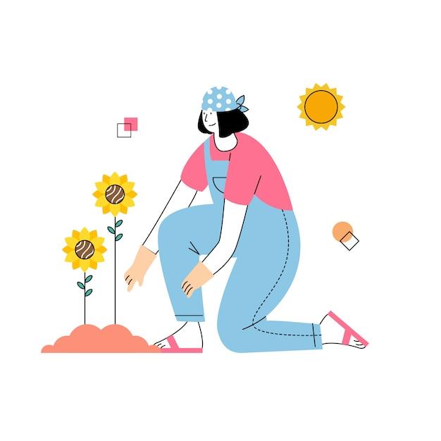 Women grow sunflowers in the sun in spring Premium Vector