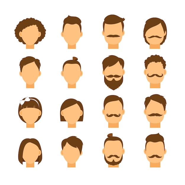 Women hairstyle and men hair style hipster set Free Vector
