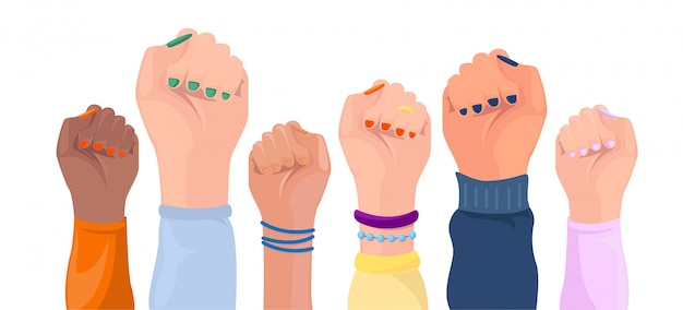 Women hands with different skin color. girl power poster. Premium Vector