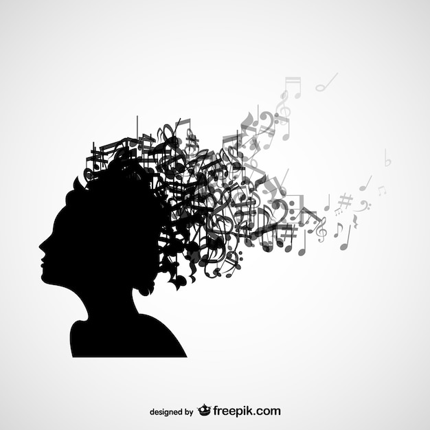 women head silhouette with music notes in her hair vector paint splatter clipart splatter clipart