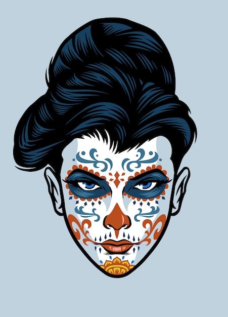 Women head wearing sugar skull face make up Premium Vector