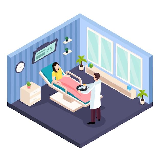 Изометрическая композиция женского здоровья с видом на больничную палату женского пола и консультацией врача Бесплатные векторы