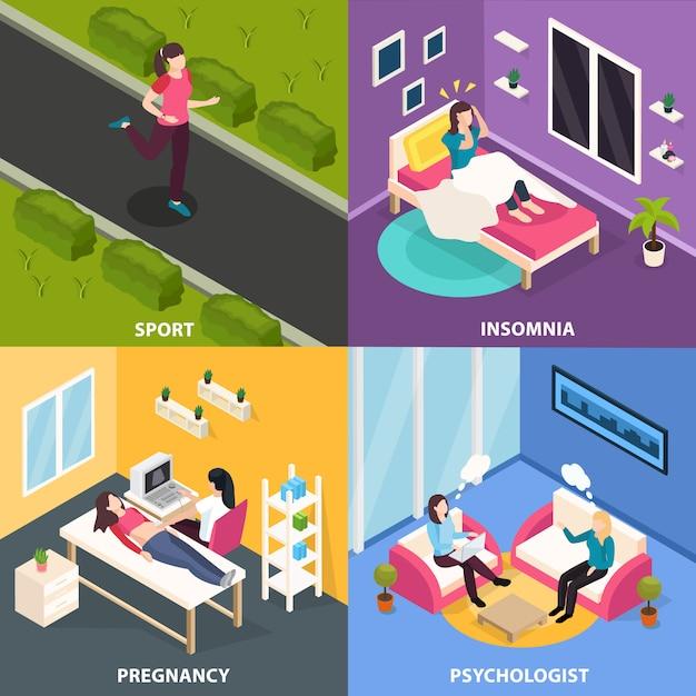 Изометрические концепции здоровья женщин с женскими человеческими персонажами в различных ситуациях с врачами Бесплатные векторы