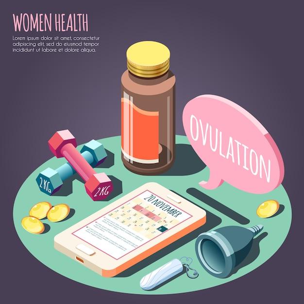 Concetto di progetto isometrico di salute delle donne con gli oggetti sull'illustrazione di vettore di tema di gravidanza e di ovulazione Vettore gratuito
