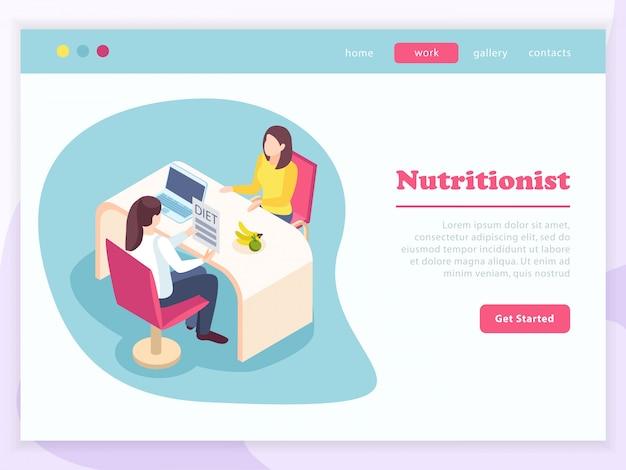 Страница изометрического сайта «здоровье женщины» с женскими персонажами на консультации по вопросам питания с кнопкой «начать» и текстом Бесплатные векторы