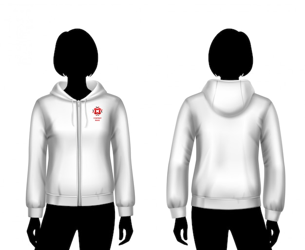 Women hooded sweatshirt template Free Vector