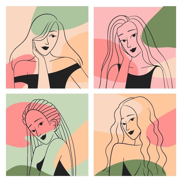 エレガントなラインアートスタイルコレクションの女性 無料ベクター