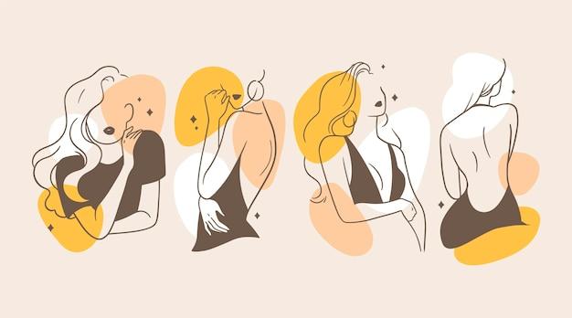 Женщины в элегантной линии арт-концепции Premium векторы