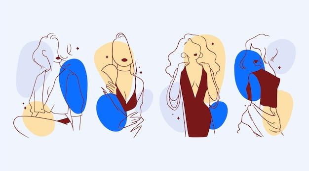Женщины в элегантном стиле линии искусства иллюстрации Premium векторы