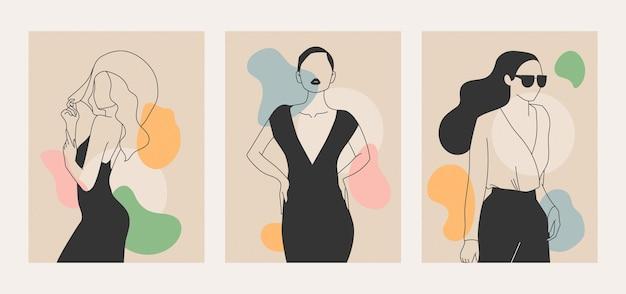 エレガントなラインアートスタイルのイラストの女性 Premiumベクター